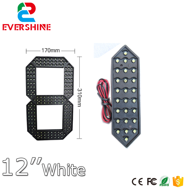 12 inch segment number gas station Outdoor Ultra Brightness white Large digital led module display 12 yellow color digita 7segment numbers module outdoor ultra brightness yellow large digital led module display