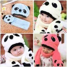 Otoño Invierno Caliente infantil del niño de los niños del sombrero del bebé  lindo de la historieta Panda sombreros + bufanda . e91350d8950