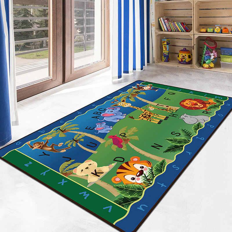 快適な子供の寝室、リビングルームカーペット漫画のパズル早期教育スリップ防水子供のための敷物ノンスリップ床ドアマット