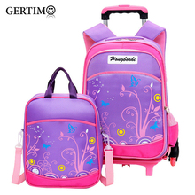 Hot Boys Trolley backpack Girls Wheeled School Bag children Travel Luggage Suitcase On Wheels kids Rolling book bag detachable 2 6 wheels boys trolley backpack wheeled school bag children travel luggage suitcase on wheels kids rolling book bag detachable
