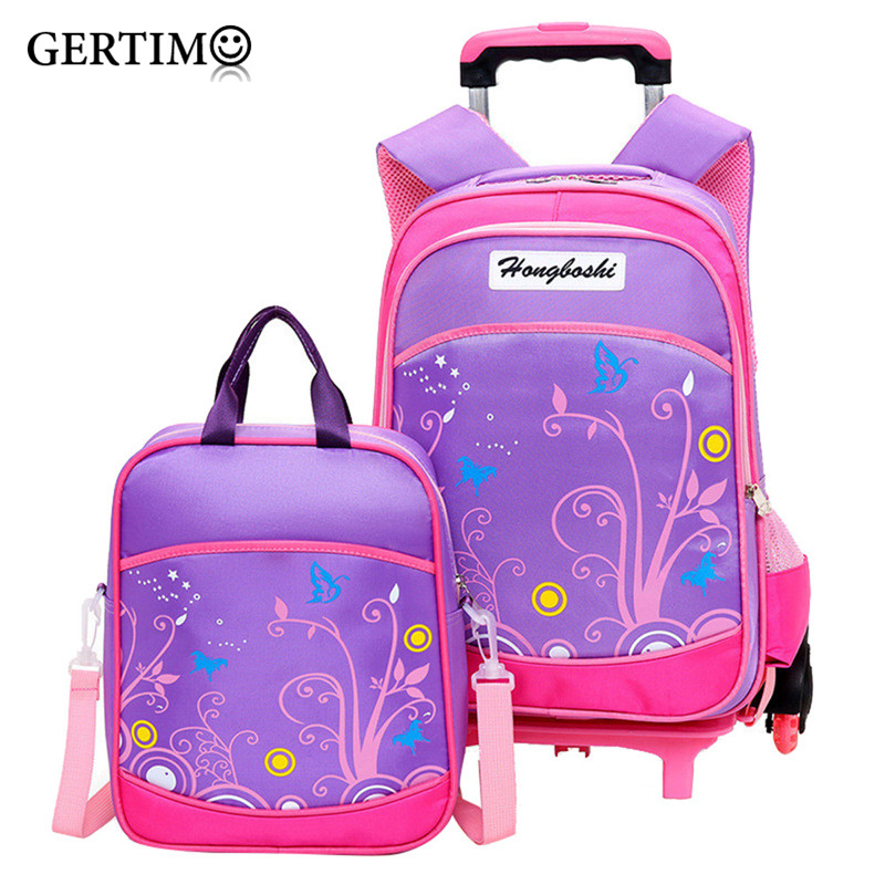 Hot garçons chariot sac à dos filles à roulettes sac d'école enfants voyage bagages valise sur roues enfants roulant livre sac détachable