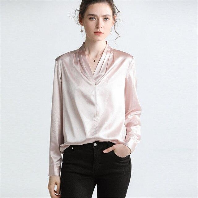 Hodisytian Summer Fashion Women Blouse Shirts Pure Silk Elegant Casual Long Loose Female Tops Blouse Long Sleeve Blusas Femme