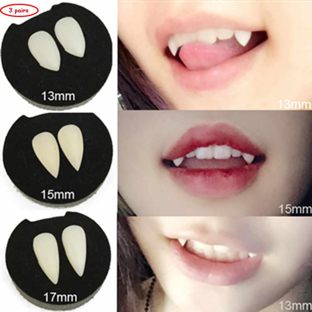 3/Pairs Presas de Vampiro Dentes Dentaduras Adereços Adereços Do Traje de Halloween Favores Do Partido Diabo Fangs Dente Com Goma Dental Cosplay adereços