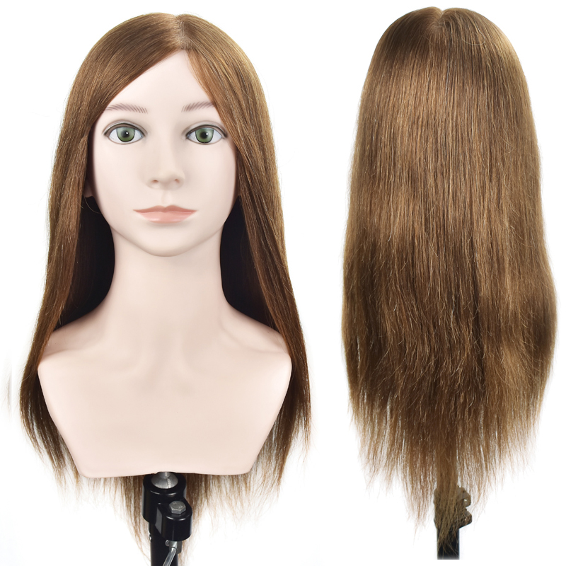Practice Salon Mannequin Head 20 100% Human Hair Dummy Doll Head Long Hair Hairdressing Training Head Model with Clamp Stand mt 2 morse taper shank with 3 16mm spanner chuck 2 morse taper shank b16 heavy spanner drill chuck for twist drills chuck