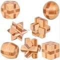 Мини Размер Портативный IQ Бамбука Блокировка Burr Головоломки 3D Логические Игры и Игрушки для Взрослых Детей 4.5 см