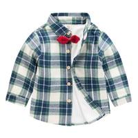 2018 למעלה איכות Bowknot חולצות נערי חולצות חורף שמירה על חום 2-7Y Kawaii קוריאה חולצות Camisa חולצה משובצת מקרית 6 צבעים Menino
