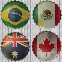 Kanada Flaga Brazylia ZJY Metalowa Puszka Piwa Kapsel Płyty Dekoracyjne tablica Vintage Pub Wall Art Metal Zaloguj Rocznika Wystrój Domu 35 CM