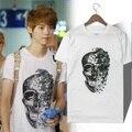 Coreano grupo ídolo super star XOXO / EXO mesmo parágrafo crânio homens t camisas pássaro / flor t - camisa 100% algodão camisa branca de t XXXL GC562