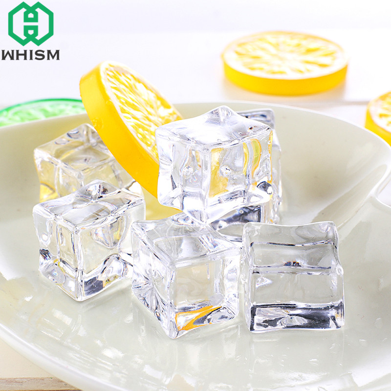 WHISM 5Pcs Fake Ice Cubes Reusable Artificial Acrylic Crystal Cubes Whisky Drinks Display Photography Props Wedding Party Decor