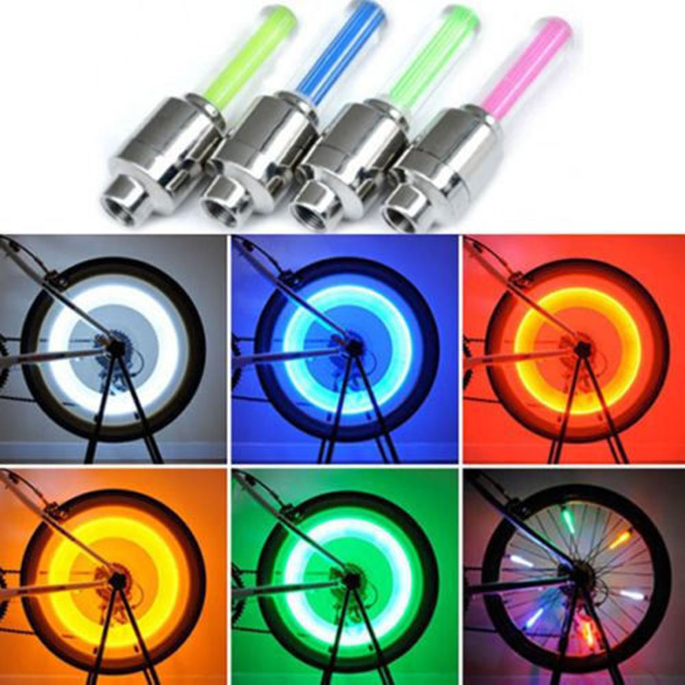 2pcs Lights Bike Tire Dust LED Spoke Safety Wheel Flash Valve Cap Neon