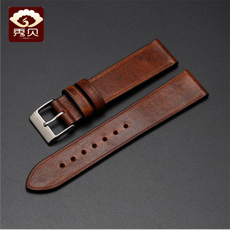 New Stock Top grade Hand made Leather Watchband Pin Clasp Thin Smooth Crimson Retro Pull up