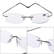 54a3527d6e8e8 2018 Nova Ultraleve Óculos de Leitura Sem Aro de Titânio Óculos  Retangulares Óculos Armação de Óculos Óculos + 1.0 A + 4.0 óculo.