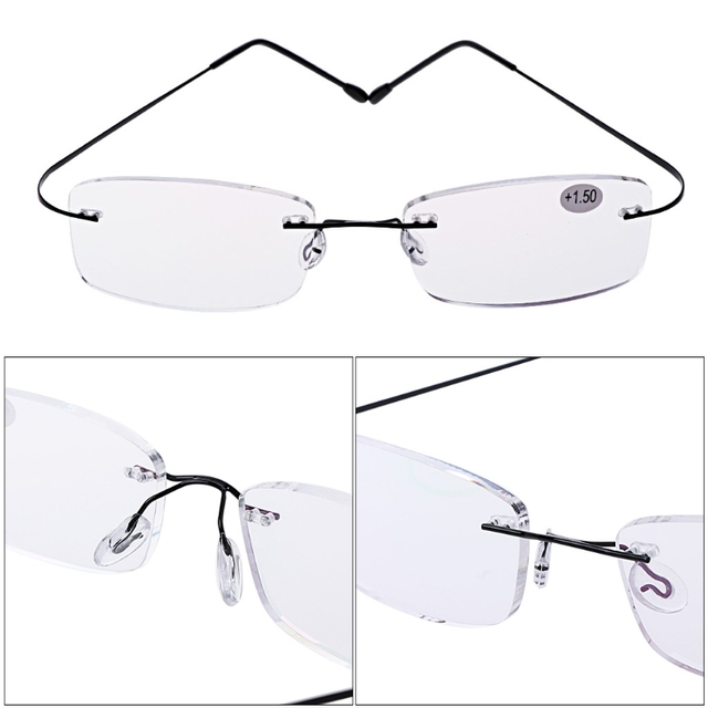d466ac48c77c 2018 New Ultralight Titanium Reading Glasses Rimless Rectangular Glasses  Spectacles Eyeglass Frame Eyewear +1.0 To +4.0 oculos
