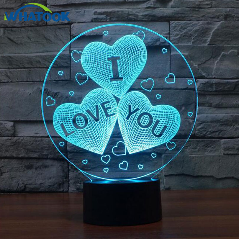 3D illusion Lamp USB charge 3D Heart I LOVE YOU LED night light with 3D luminous Decor table lamp nightlight For Valentine gift rose petals heart love patterned valentine s day waterproof table cloth