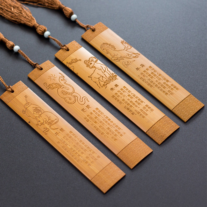 Coloffice 1PC 12 Chinese Zodiac Creative Vintage Tassels Chinese Style Bamboo Bookmark Wooden Gifts Teacher Student Stationery