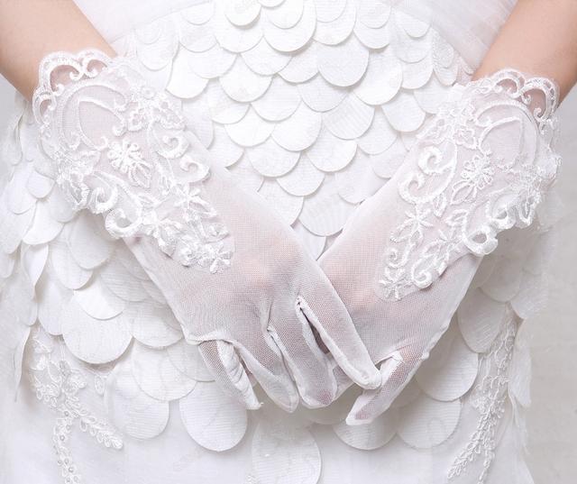 2016 pulso comprimento do dedo curto luvas de casamento do laço do marfim branco luvas de noiva para a noiva acessórios do casamento