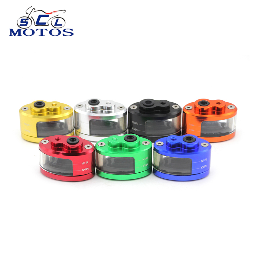 Sclmotos 7 colors Motorcycle Brake Fluid Reservoir Clutch Tank Cylinder Master Oil Cup Oval translucent oil cups 127 GSXR 1300