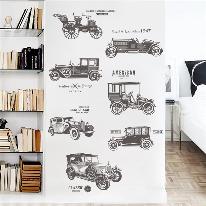 Vintage Car Wall Stickers For Kids Rooms Children Nursery Boy Room Decals Poster Home Decor Decal Mural