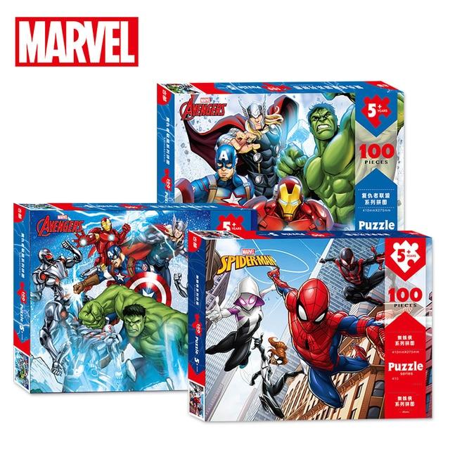 Marvel vengadores hierro hombre Thor negro viuda Capitán América Spiderman imprimir rompecabezas de papel juguetes de madera para niños Brinquedos