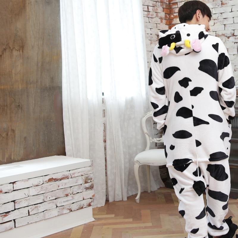 Kawaii Flannel Pijama kigurumi For men Minion Panda Tiger Giraffe Onesie Adult Sleepwear Couple Pyjamas Halloween Party Jumpsuit (7)