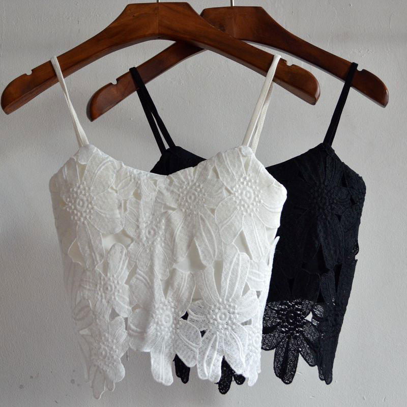 WomenSexy Lace Crop Pop Summer Beach Camisole Tanks Cropped Lace Padded Bustier Crop Pops Tees Strappy