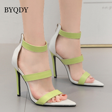 BYQDY Fashion Buckle Strap Woman Sandals Sexy High Heels PU Leather Shoes Summer Cover Heel Party Club Stripe Sandal