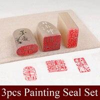 3 шт./набор, китайский штамп, комплект уплотнений, пустой художественный Печатный камень для практики, живопись, каллиграфия, художественные