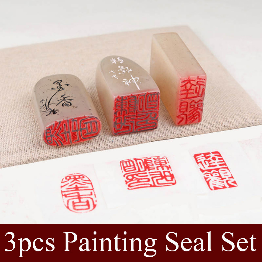 3 pcs/set Chinese Stamp Seal Set Blank Art Signet seal stone for practice painting calligraphy Art supplies art stone art stone me010