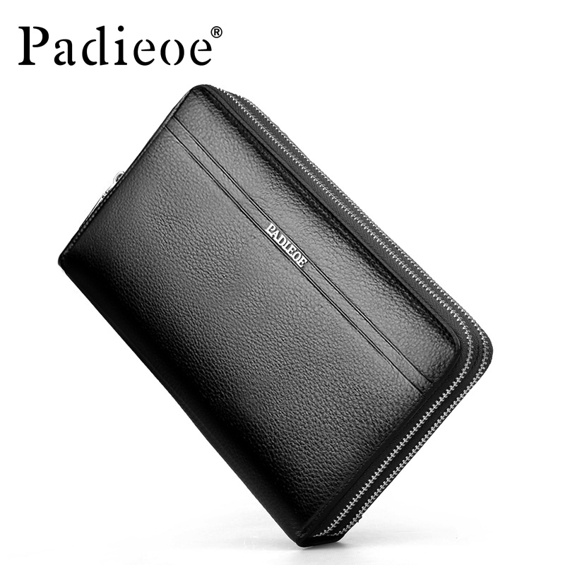 Padieoe High quality fashion Cowhide man bags double zipper handbags genuine leather men's Clutch Bag long men clutch purses 2017 luxury brand men clutch cowhide wallet genuine leather hand bag classic multifunction mens high capacity clutch bags purses