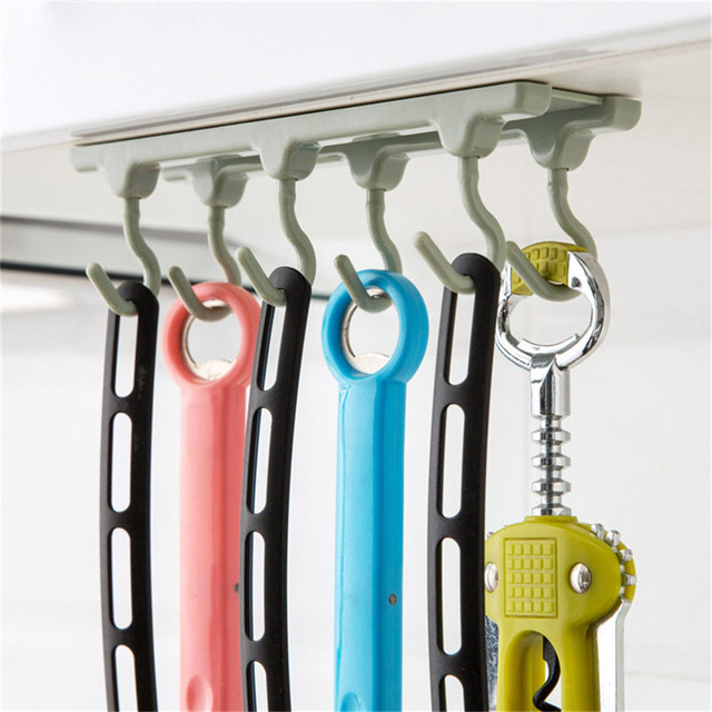ttlife 1pcs kitchen utensil organizers cabinets ceiling storage rack no trace row of nail free - Kitchen Utensil Organizer