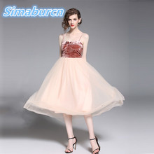 2018 Summer Newly Style Women Lace Velvet Dress Sleeveless Femme Dresses Sexy Casual Strap Loose Vestidos New Arrivals