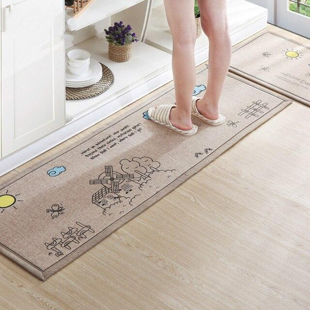 1set 2pcs Non Slip Kitchen Carpet Large Bath Mat Cartoon Hotel Rugs