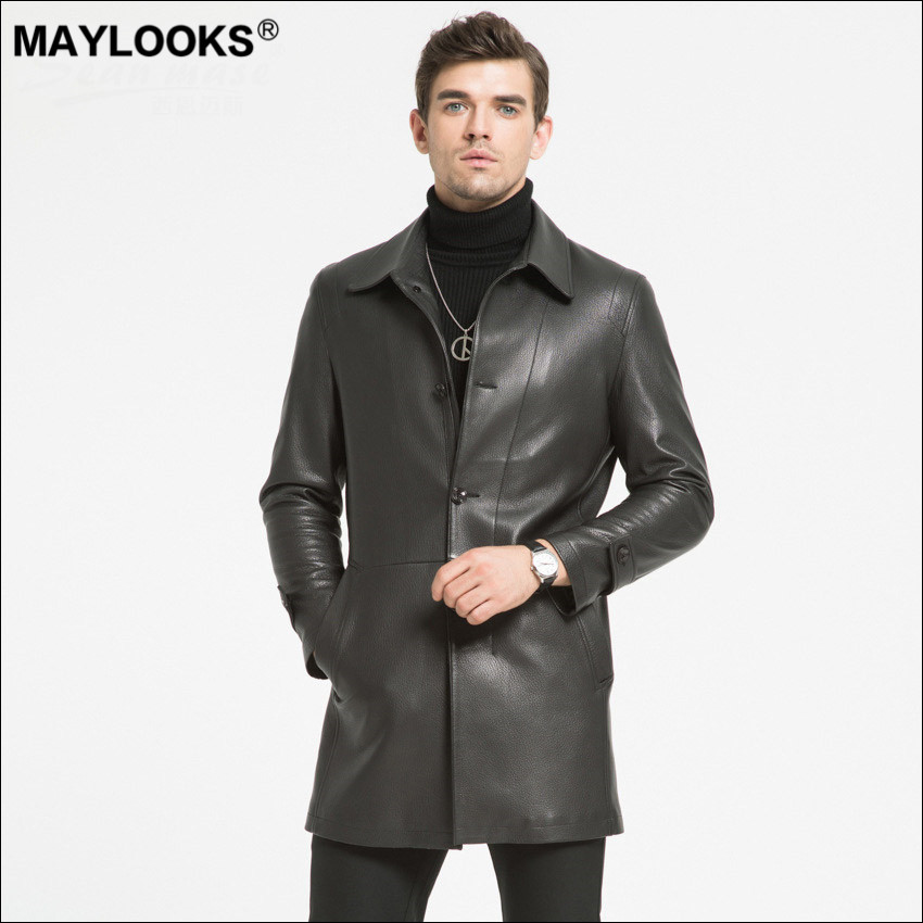 Maylooks 2018 autumn and winter new top coat of goats stripe in men's leather coat WS134
