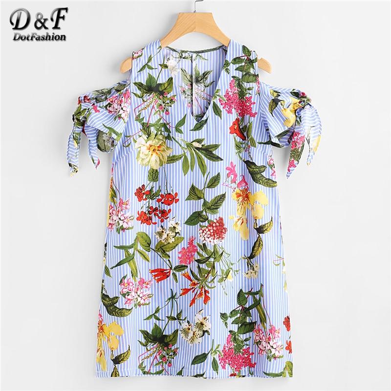 Dotfashion Random Botanical Print Tie Sleeve Striped Dress Women Short Sleeve V Neck Vacation Dress 2018 Summer Casual Dress