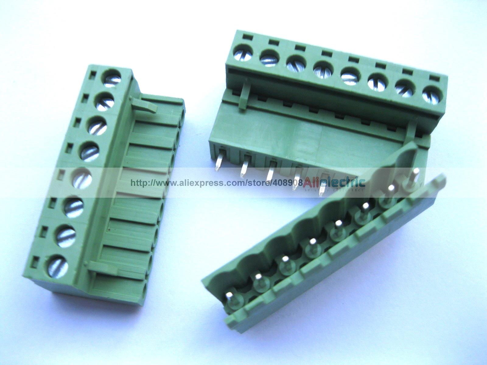 10 Pcs 5.08mm Straight 8 Pin Screw Terminal Block Connector Pluggable Type Green 100 pcs 5 08a 5 08mm straight 2 pin screw terminal block connector pluggable type