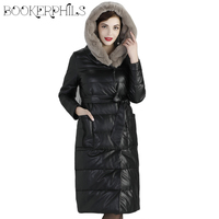 Autumn Winter Leather Jacket Women Coats Hooded 2018 Plus Size 5XL Real Rabbit Fur Collar Warm Thick Down Jacket Black Outwear