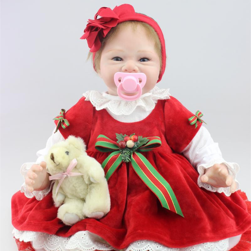 Cute Smile Baby Girl Dolls 55cm Real Like Silicone Reborn