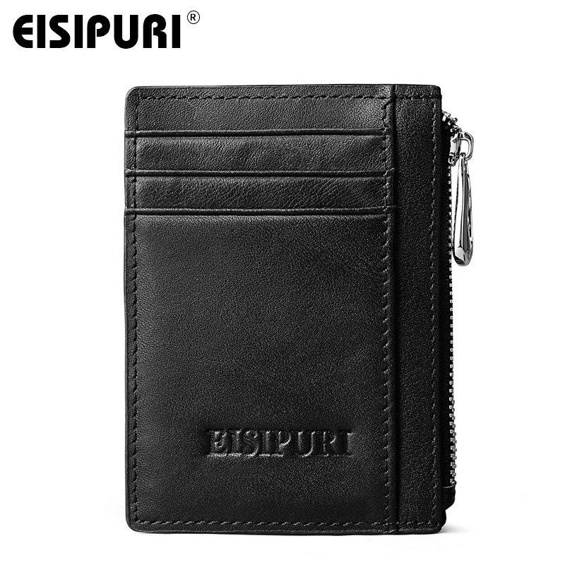 EISIPURI High Quality Genuine Leather Men Wallets Business Male Card Wallets Casual Short Leather Mens Wallets Small Card Holder