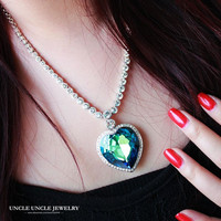 High Quality White Gold Color Heart of Ocean Design Dark Blue Austrian Crystal Classic Lady Pendant Necklace Wholesale