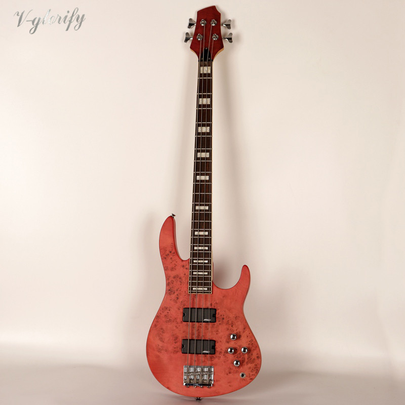 high quality active 4 string bass guitar tree burl top