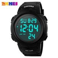 SKMEI Boisko Sportowe Zegarki Mężczyźni Przebiegu Big Dial Cyfrowy Chronograf PU Pasek Na Rękę 50 M Wodoodporny Zegarek 1068