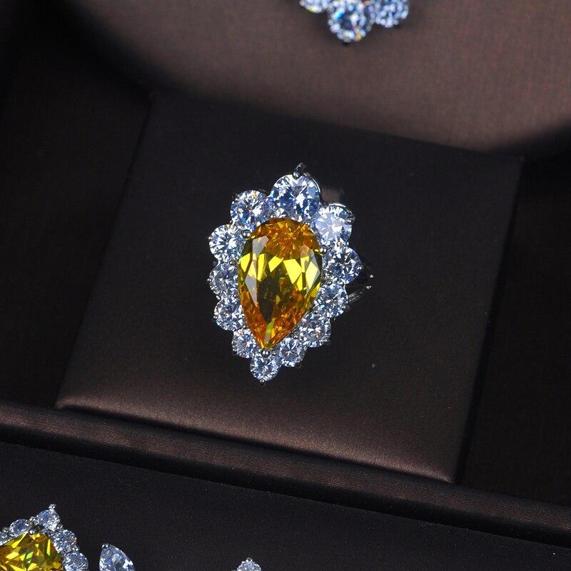 HIBRIDE Charm żółta cyrkonia zestawy biżuterii dla kobiet zestawy ślubne 4 sztuk kolczyk naszyjnik bransoletka pierścień prezent N 391 w Zestawy biżuterii od Biżuteria i akcesoria na  Grupa 3