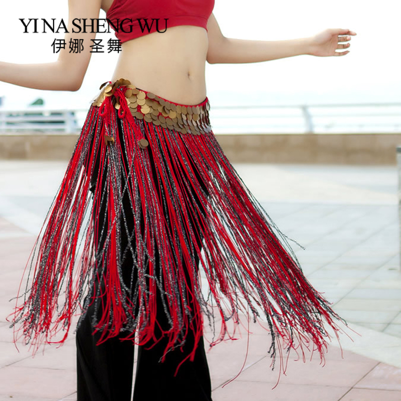 New American Tribal Style Belly Dance Classical Long Tassel Hip Scarf Copper Coin Waist Chain Tribal Style Belly Dance Hip Scarf
