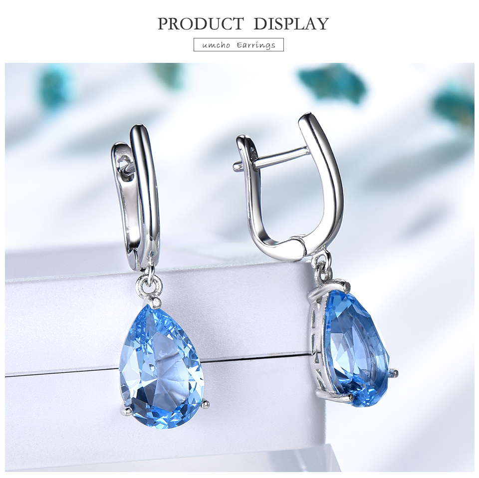 UMCHO  Nano Sky Blue Topaz 925 sterling silver earring for women EUJ095B-1-pc (3)