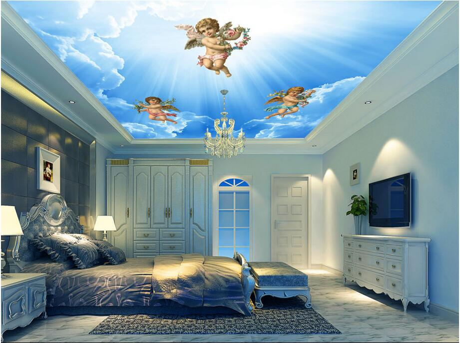 3d ceiling murals wallpaper custom photo non-woven Angels blue sky white clouds painting 3d wall mural wallpaper for living room 3d ceiling murals wallpaper custom photo non woven sky dandelion dove leaves painting 3d wall mural wallpaper for living room