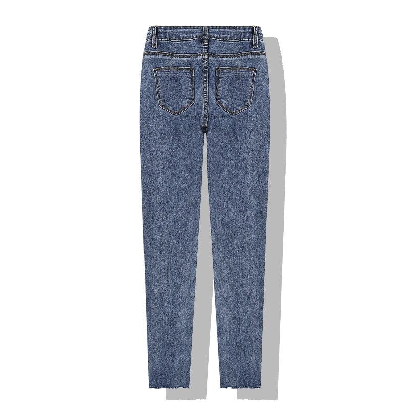 Lápiz Pantalones Mujer Azul Cintura Jeans Nueva 2019 Apretados Mezclilla Moda Medias Dividir Vaqueros Delgada q4w6XgEz
