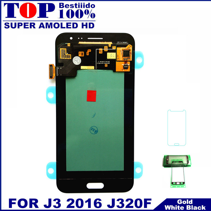 imágenes para AMOLED pantalla LCD de alta Calidad para Samsung Galaxy J3 2016 J320F J320H J320M J320FN Pantalla LCD Táctil Asamblea Digitalizador Reemplazar