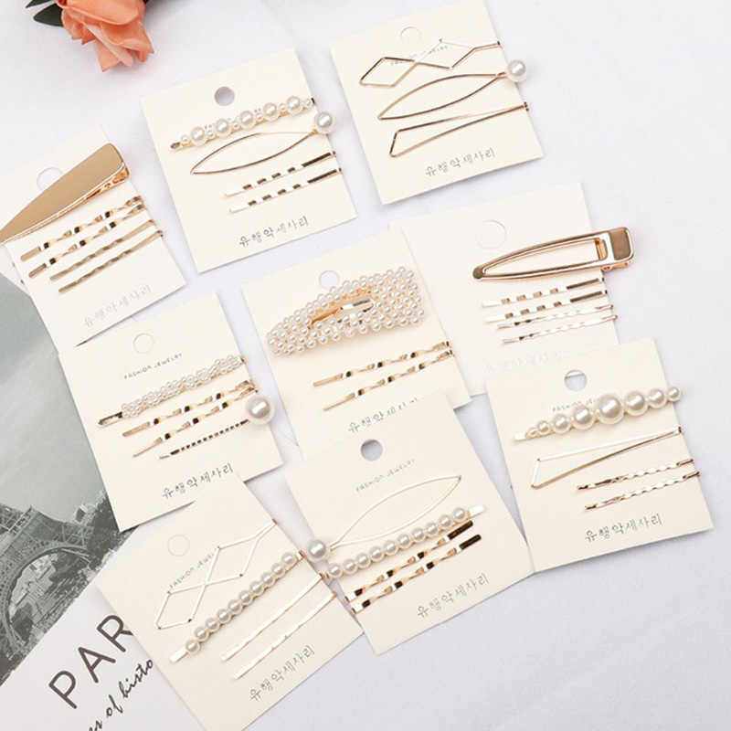 Hair Accessories 1Set Pearl Hairpin Barrettes Geometric Metal Hair Clips For Girls Irregular Gold Color Hairgrip