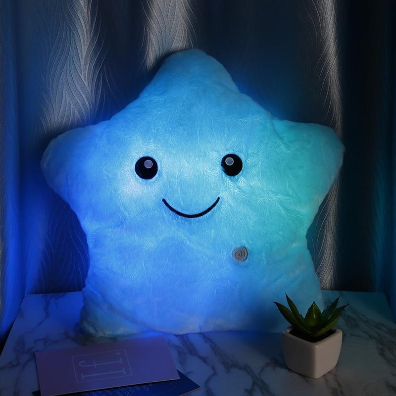Stuffed e Plush Animais 36*36 centímetros azul travesseiro luminosa Preenchimento : Algodão de Polipropileno