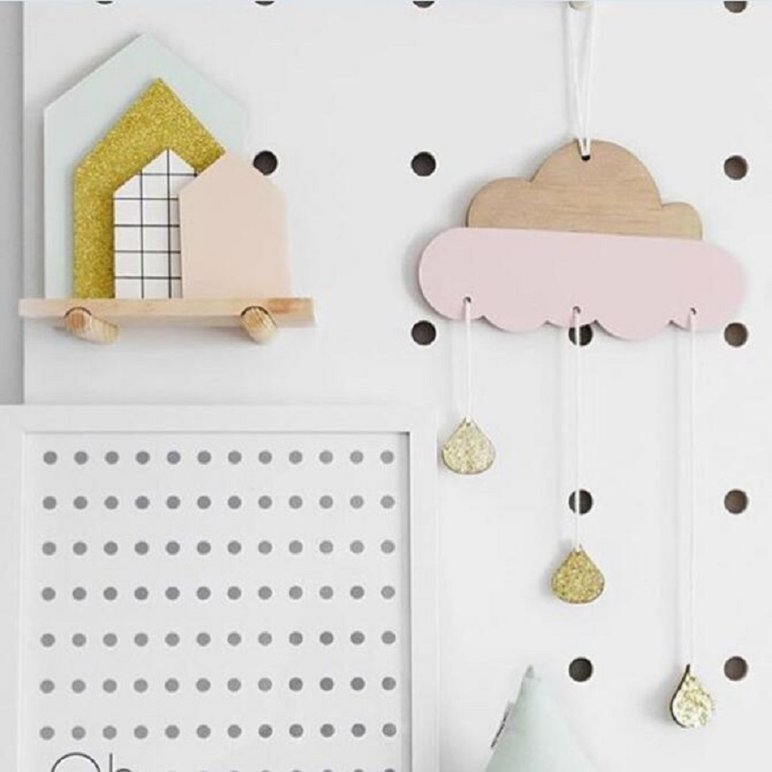 Cute Cloud rain Woodchips set wood banner for kids bedroom wall decal decoration bed background decor